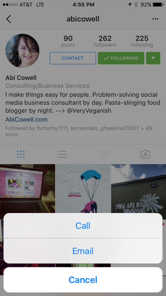 instagram for business contact button 1