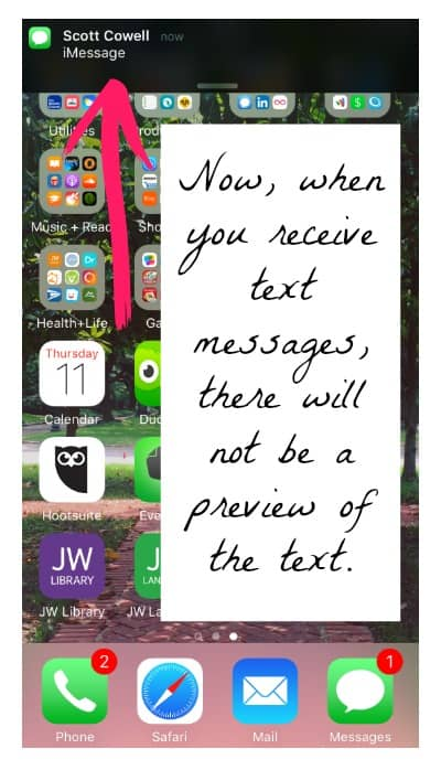 How to make your iPhone text message notifications private